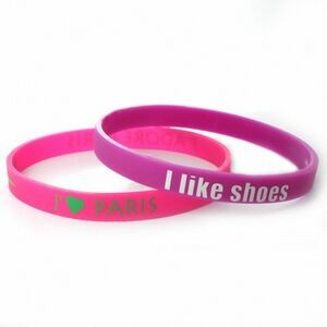 "1/4"" (6mm) Wide Solid Color Silicone Wristband with Silkscreened Imprint"
