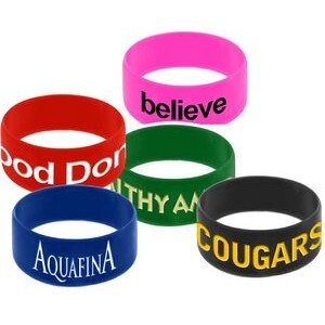 "3/4"" wide Solid Color Silicone Wristband with Silkscreened Imprint"