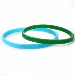 "1/4"" (6mm) Wide Solid Color Silicone Wristband; Embossed"