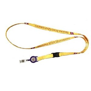 "3/8"" wide Full Color Sublimated Lanyard with Sewn In Badge Reel Set"