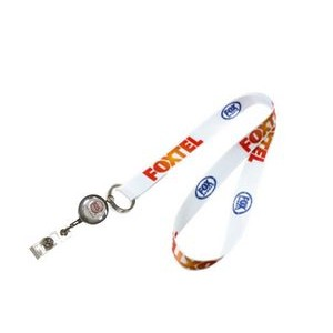 "3/4"" wide Full Color Sublimated Lanyard with J-Hook or Split Key Ring and Badge Reel Set"