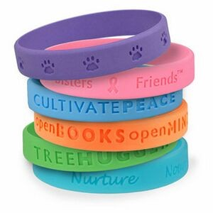 "1/2"" wide Solid Color Silicone Wristband; Debossed"