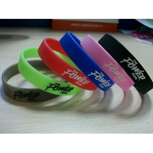 "1/2"" wide Solid Color Silicone Wristband with Silkscreened Imprint"