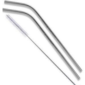 Silver Stainless Steel Bent Straw 2 pc Set