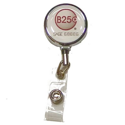Large Round Face Metal Badge Reel with Clip