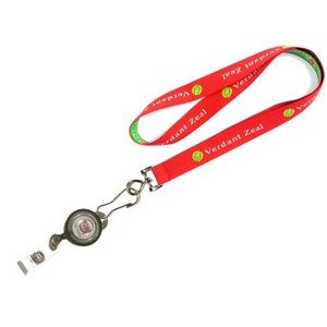 "1"" wide Woven Lanyard with J-Hook Clip and Badge Reel attached"