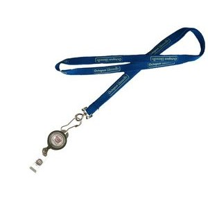 "5/8"" wide Silkscreened Polyester Lanyard with J-Hook clip and Badge Reel attached"