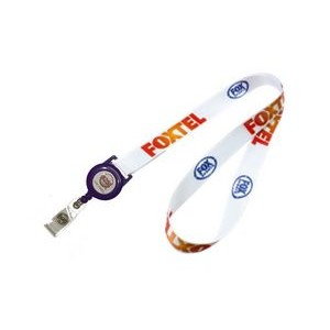 "3/4"" wide Full Color Sublimated Lanyard with Badge Reel Set"