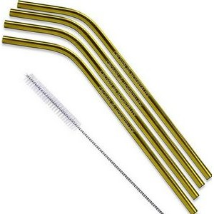 Gold & Copper Stainless Steel Bent Straw 4 pc Set