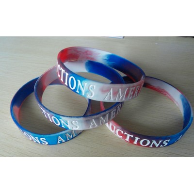 "1/2"" wide Multi-color Silicone Wristband; Debossed with Color Fill"