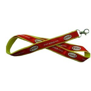 "1"" wide Polyester lanyard with 3/4"" Silkscreened Satin Ribbon sewn on; Includes one standard attach"