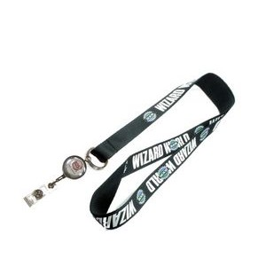 "1"" wide Silkscreened Polyester Lanyard with J-Hook Clip and wth Metal Badge Reel attached"