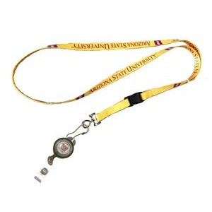 "3/8"" wide Full Color Sublimated Lanyard with J-Hook Clip and Badge Reel Set"