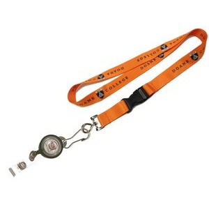 "1"" wide Full Color Sublimated Lanyard with J-Hook clip and Badge Reel Set"