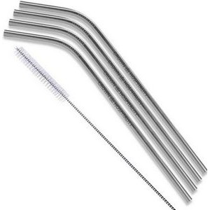 Silver Stainless Steel Bent Straw 4 pc Set
