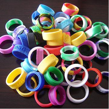 "1/4"" (6mm) Wide Multi-Color Silicone Ring; Debossed"