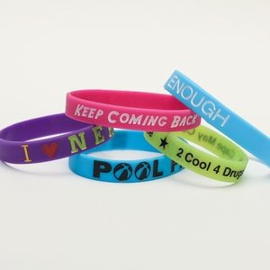 "1/2"" wide Solid Color Silicone Wristband; Debossed with Color Fill"
