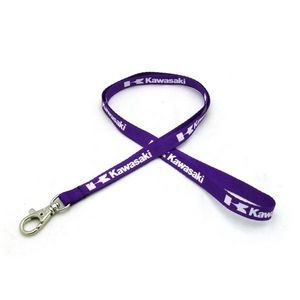 "3/8"" wide Silkscreened Polyester Lanyard with metal bean and one standard attachment"