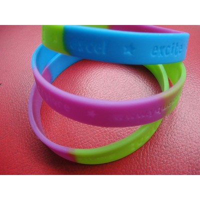 "1/2"" wide Multi-color Silicone Wristband; Debossed or Embossed"