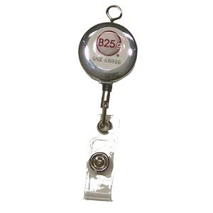 Metal Badge Reel with one side full color epoxy dome logo and with keyhole on the top