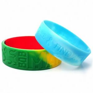 "1"" wide Multicolor Silicone Wristband; Debossed or Embossed"