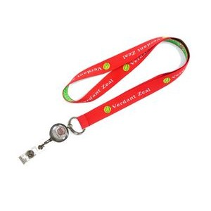"1"" wide Woven Lanyard with J-Hook Clip/Split Keyring and Metal Badge Reel attached"