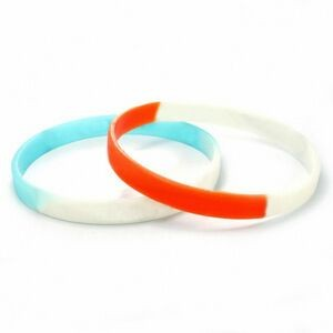 "1/4"" (6mm) Wide Multi- Color Silicone Wristband; Debossed or Embossed"