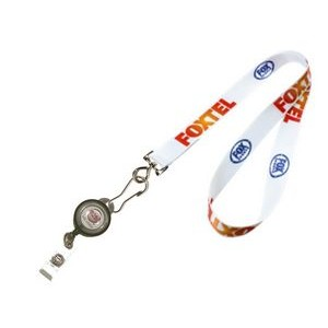 "3/4"" wide Full Color Sublimated Lanyard with J-Hook clip and Badge Reel Set"