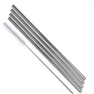 Silver Stainless Steel Straight Straw 4 pc Set