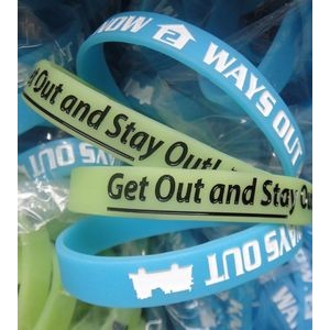 "1/2"" wide Glow-in-the-Dark Silicone Wristband;Debossed or Embossed"