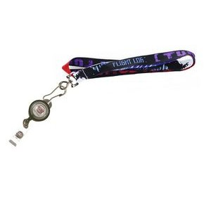 "5/8"" wide Full Color Sublimated Lanyard with J-Hoop clip and Badge Reel Set"