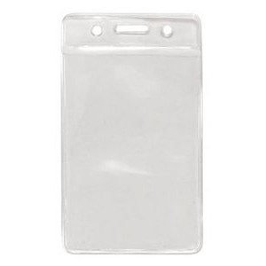 "3""W x 4""H BLANK Vertical Clear PVC Badge Holder with zip-top closure"