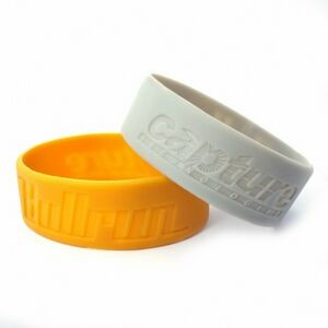 "1"" wide Solid Color Silicone Wristband; Debossed or Embossed"