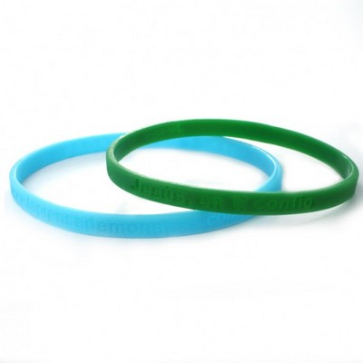 "1/4"" (6mm) Wide Solid Color Silicone Wristband; Debossed"