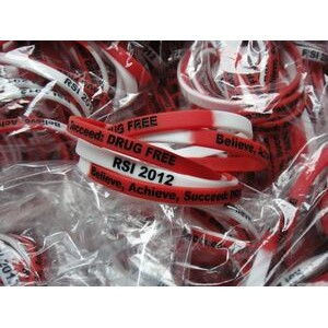 "1/4"" (6mm) Wide Multi- Color Silicone Wristband; Debossed with color fill"