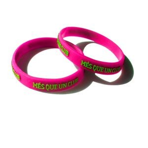 "1/2"" wide Solid Color Silicone Wristband; Embossed w/ Color Imprint"