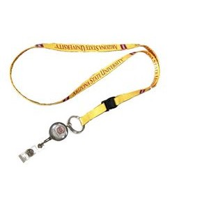 "3/8"" wide Full Color Sublimated Lanyard with J-Hook or Split Key Ring & Metal Badge Set"