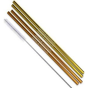 Gold & Copper Stainless Steel Straight Straw 4 pc Set