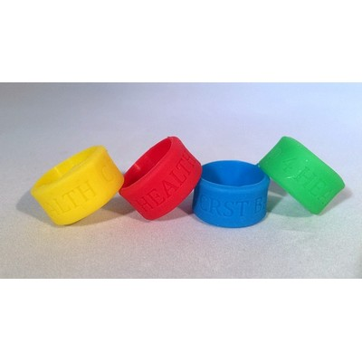 "1/2"" (12mm) Wide Solid Color Silicone Thumb/Vape Ring; Debossed"