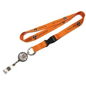 "1"" wide Full Color Sublimated Lanyard with J-Hook clip or Split Key Ring & Metal Badge Reel Set"