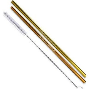 Gold & Copper Stainless Steel Straight Straw 2 pc Set